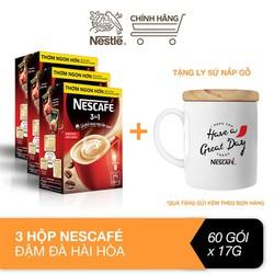 [Tặng ly sứ nắp gỗ] Combo 3 hộp Nescafé 3in1 cà phê rang xay hòa tan đậm đà hài hòa (Hộp 20 gói x 17g)