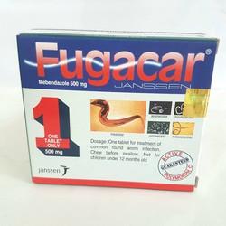 Fugacar Mebendazole 500mg - Vị Truyền Thống/Trái Cây/Socola - Giúp Loại Bỏ Các Loại Giun - Hộp 1 Viên - Đông Anh Pharma