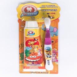 Bộ Bàn chải + Gel đánh răng trẻ em EQ Tech Junior kem đánh răng cho bé từ 2 đến 8 tuổi dạng Gel trong suốt 75g