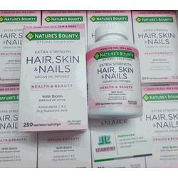 Hair skin & nails with Biotin 5000 mcg chai 250 viên hãng Nature's Bounty từ Mỹ hỗ trợ làm đẹp Da, Móng ,Tóc