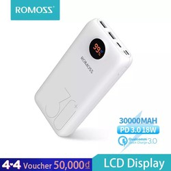 Sạc dự phòng di động Romos sw30 Pro, pin ngoài, màn hình LED Sạc Nhanh PD cho điện thoại, máy tính bảng, Xiaomi, Huawei