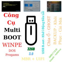 THIẾT BỊ Khởi ĐỘNG USB BOOT - WinPE, DOS PROGam - Chuẩn LEGACY - UIFI - GHOS.T 7.8.10  , DRIVE- dung lượng lưu trự 32GB -3.0
