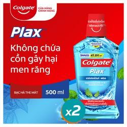 Combo 2 chai Nước súc miệng Colgate diệt 99% vi khuẩn Plax bạc hà 500ml/chai