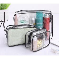 Bộ 3 túi đựng mỹ phẩm, đồ trang điểm khi đi du lịch, công tác- Set túi đa năng trong suốt, chống nước, có khóa kéo 3 size khác nhau, màu ngẫu nhiên