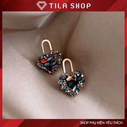 [SIÊU SALE] Khuyên tai nữ đính đá hình trái tim 7 màu, bông tai  phong cách hiện đại sang trọng.