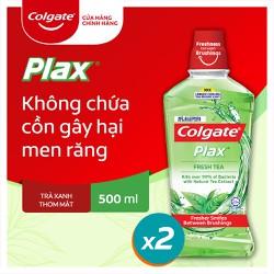 Combo 2 chai nước súc miệng Colgate diệt 99% vi khuẩn Plax trà xanh 500ml/chai