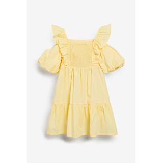 Đầm vải kate vàng phối bèo và tay phồng cho bé gái 6-14T D1160 - D1160A thumbnail