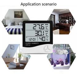 Nhiệt ẩm kế điện tử LCD đo nhiệt độ độ ẩm trong phòng kiêm đồng hồ báo HTC 1 và HTC 2