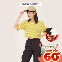 Áo thun nữ form rộng cổ tròn tay ngắn croptop sọc GUMAC ATB343