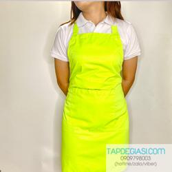 Tạp dề xanh neon dành cho nam nữ phục vụ, pha chế ( nhận in thêu logo )