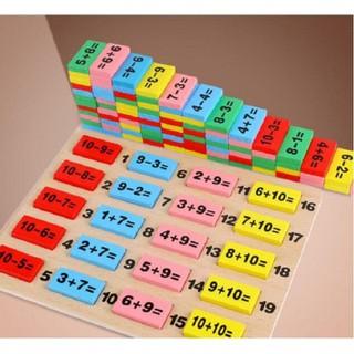 Đồ chơi tính toán trẻ em bộ Domino bảng gỗ tính toán bảng tính toán bộ 110 miếng khối gỗ đồ chơi logic trẻ em học sinh - Đồ chơi tính toán trẻ em bộ Domino thumbnail
