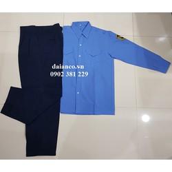 Quần áo bảo vệ tay dài màu xanh (áo vải xi - quần casme)