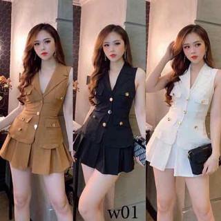 Set áo vest và chân váy xếp ly có lót sang chảnh - Mi310 thumbnail