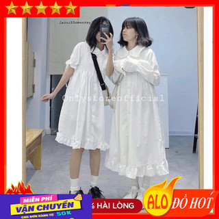 Váy suông nữ kiểu baby Viền Bèo dáng dài và ngắn chất cotton - Đầm Suông Nữ Viền Bèo - Váy suông nữ kiểu baby Viền Bè thumbnail