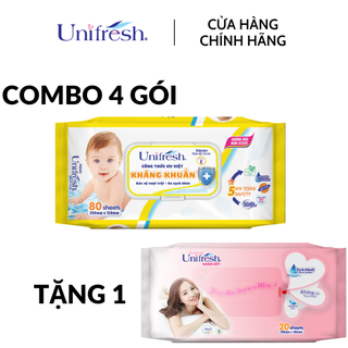 [Tặng 1 khăn ướt Lady 20M] Combo 4 gói khăn ướt Unifresh Vitamin E - Khăn ướt trẻ em (80 miếng gói) - 4WTPE80FS thumbnail