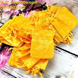 Combo 100 túi gấm long phụng size 7x9cm, có thể đựng vòng tay, trang sức, đồng xu, xu may mắn và các vật phẩm phong thủy may mắn, trừ tà, màu vàng hoặc đỏ - TMT colletion - SP005244