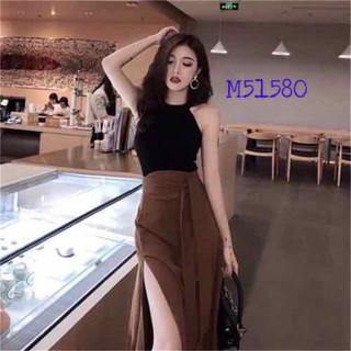 Set áo cổ yếm và chân váy nữ xẻ tà - Mi303 thumbnail
