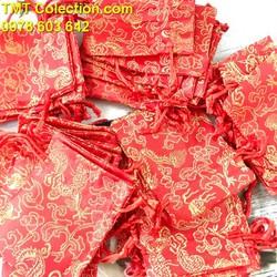 Combo 100 túi gấm long phụng size 7x9cm, có thể đựng vòng tay, trang sức, đồng xu, xu may mắn và các vật phẩm phong thủy may mắn, trừ tà - TMT colletion - SP005244