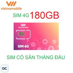 Sim 4G vietnamobile 180GB có sẵn tháng đầu sử dụng toàn quốc