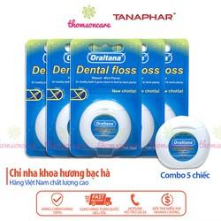 Tăm chỉ nha khoa Oraltana combo 5 cuộn , chỉ vệ sinh răng miệng hương bạc hà thơm miệng sạch mảng bám thức ăn thừa trong kẽ răng