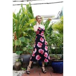 Đầm maxi hoa hồng cao cấp