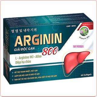 Viên Uống Giải Độc Gan Arginin 800-giúp tăng cường chức năng giải độc gan, bảo vệ tế bào gan, hạ men gan. Giúp cải thiện tình trạng chán ăn, ăn uống khó tiêu do chức năng gan suy giảm. - Arginin 800-xanh đậm usa thumbnail