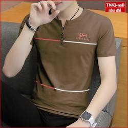 Áo thun nam tay ngắn TN43 áo phông cổ v nhiều màu vải sợi tre đường kẻ