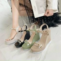 Dép sandal quai hậu đế xuồng nữ Vintage Hàn Quốc