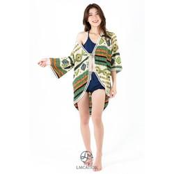 Áo khoác kimono nữ sang trọng mặc nhà & đi biển LMCATION Naomi - thổ cẩm