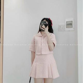 Set đồ nữ đi chơi áo vest croptop + chân váy tennis vải dạ nỉ phong cách tiểu thư sang chảnh - B009-1MFS thumbnail