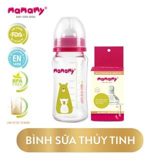 Combo Bình sữa thủy tinh Mamamy 240ml chống sặc và đầy hơi và 1 Hộp núm ti cùng size - CBTTBS240NT thumbnail
