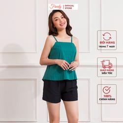 BH1231-Đồ ngủ nữ mặc nhà thiết kế Freedy-Bộ 2 dây yếm kẻ xanh lục quần đui đen