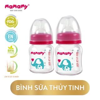 Combo 2 bình sữa thủy tinh Mamamy 120ml chống sặc và đầy hơi, an toàn cho bé - CBTT2BS120 thumbnail