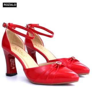 Giày cao 7P gót ốp kim loại quai cổ chân nơ liền đính đá Rozalo R3311 - 3311R thumbnail