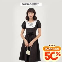 Đầm nữ cổ tròn tay ngắn xếp ly - Đầm nữ phối yếm thêu GUMAC DB395