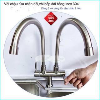 vòi rửa chén bát SUS304 dành cho bồn chén đôi - dzu thumbnail