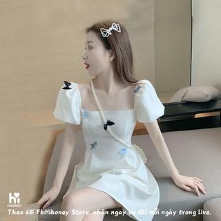 (Hot 2021) Đầm, váy trễ vai, váy tiểu thư màu trắng đính nổi hồ điệp - SP 26 thumbnail