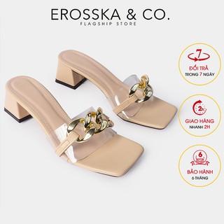 Dép quai xi ch cao gót thơ i trang Erosska mu i vuông phô i quai trong cao 5cm ma u nude - EM071 - EM071NU thumbnail