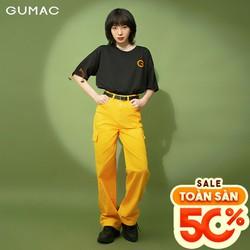 Quần jean nữ ống rộng thiết kế 2 túi hộp GUMAC QJB342