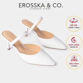 Dép su c cao gót thời trang Erosska quai ma nh phong ca ch Ha n Quô c cao 8cm màu tră ng - EM073 - EM073WH thumbnail