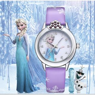 [CÓ VIDEO] Đồng hồ trẻ em dây da công chúa Elsa và Anna, tặng hộp và pin dự phòng, bảo hành 2 năm - ELSA 3
