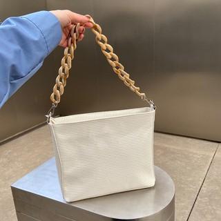 Túi bucket vuông màu trắng đeo vai quai xích nhựa vân đá phong cách ulzzang Hàn Quốc TX085 - TX085 thumbnail