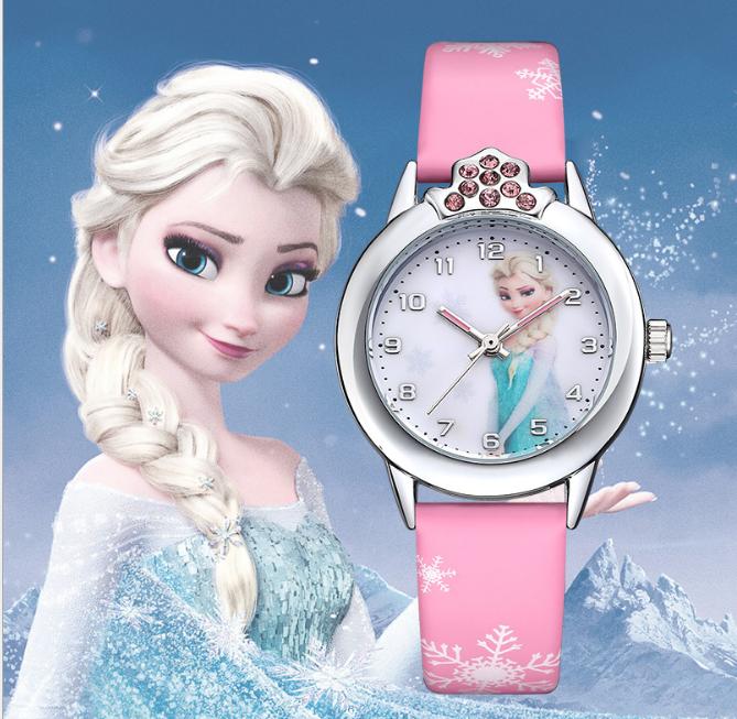 [CÓ VIDEO] Đồng hồ trẻ em dây da công chúa Elsa và Anna, tặng hộp và pin dự phòng, bảo hành 2 năm - ELSA 2