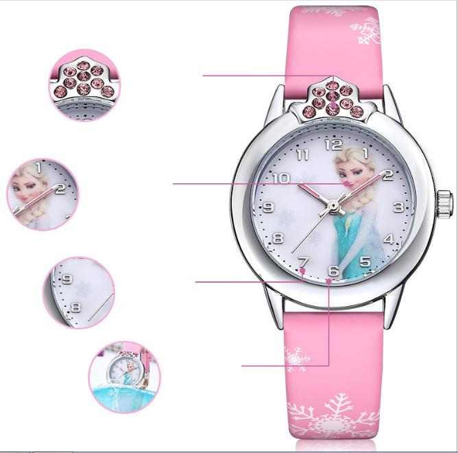 [CÓ VIDEO] Đồng hồ trẻ em dây da công chúa Elsa và Anna, tặng hộp và pin dự phòng, bảo hành 2 năm - ELSA 1