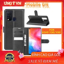 Bao da Vivo Y30 Y50 - Ốp lưng da Cao cấp có nắp gập và chống xem video tiện lợi cho Vivo Y30 Y50  - Hàng Cao Cấp Loại S