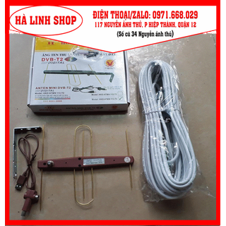 anten dvb t2, kèm nguồn 5v kích sóng và dây cáp 10 mét, sử dụng trong nhà hoặc ngoài trời, có kích sóng cực mạnh - anten dvb 113+ 10m dây thumbnail
