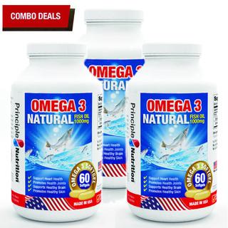 COMBO 3 - Viên uống dầu cá tự nhiên Omega 3 Natural Fish Oil 1000mg PRINCIPLE NUTRITION bô sung ca c châ t be o không no hỗ trợ sức khỏe xương khớp tim mạch giu p chô ng la o ho a giảm trầm cảm giúp dễ ngủ và cải thiện sự tập trung - Hộp 60 viên - O3-PRINCIPLENUTRITION(60sx3) thumbnail