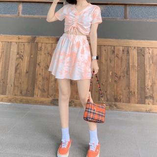 set croptop rút dây kèm chân váy loang màu họa tiết siêu xinh chất thun cotton 4 chiều dày dặn cao cấp - set áo crotop thumbnail