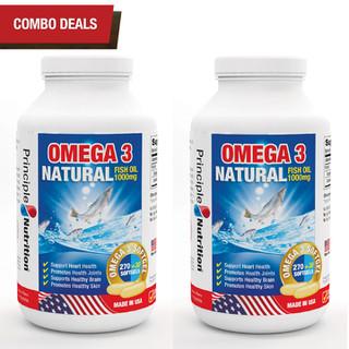 COMBO 2 - Viên uống dầu cá tự nhiên Omega 3 Natural Fish Oil 1000mg PRINCIPLE NUTRITION bô sung ca c châ t be o không no hỗ trợ sức khỏe xương khớp tim mạch giu p chô ng la o ho a giảm trầm cảm giúp dễ ngủ và cải thiện sự tập trung - Hộp 300 viên - O3-PRINCIPLENUTRITION(300sx2) thumbnail