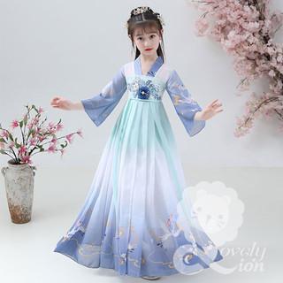 (Hàng có sẵn) Bộ hán phục công chúa in hình chim hạc cho bé gái + Tặng quạt +kẹp tóc+miếng dán trán - HFICC330 thumbnail